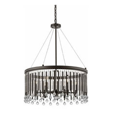 Contemporary Piper Chandelier Round Pendant in Espresso with Clear glass