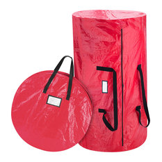 Christmas Tree and Wreath Combo Storage Bag, Up to 9' Tree by Elf Stor, Red