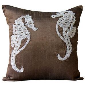 Brown Beaded Sea Horse Cushion Cover, 50x50 Silk Cushion Cover, Ivory Sea Horse