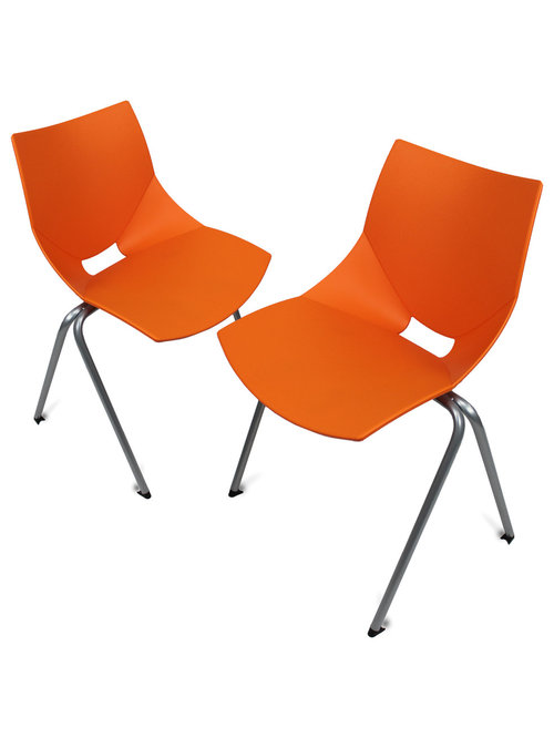 GloDea   Shell Outdoor Chair, Set Of 2, Orange   Outdoor Dining Chairs