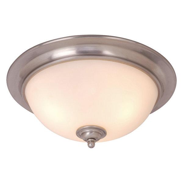 Avalon 16.25-in W Satin Nickel Flush Mount Ceiling Light Fixture White