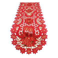 """Holiday Embroidered and Cutwork Table Linens, Joyeux Noël, 16""""x72"""" Runner"""