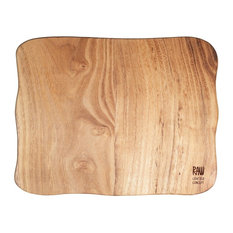 Raw Teak Wood Square Chopping Board, Large
