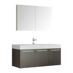 "Vista 48"" Gray Oak Wall Hung Modern Bathroom Vanity, Faucet FFT1030CH"