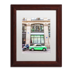 """Little Green Parisian"" Framed Art by Yale Gurney, Wood, White, 11""x14"""