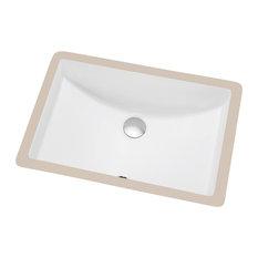 "CUSN017000 Under Counter Rectangle Ceramic Basin Overflow, 20.5""x14.63""x7.13"""