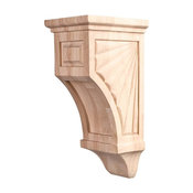 "Mission Style Scalloped 10"" Corbel, Rubberwood"