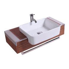 """32"""" Belvedere Modern Wall Mounted Bathroom Vanity With Vessel Sink, Wood Veneer"""