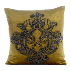 "Damask 18""x18"" Velvet Chartreuse Pillows Cover, Lord Medusa"