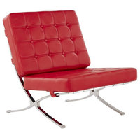 "Global Furniture Tufted Chair Natalie Red With Chrome Frame 30x34x33"" Red"