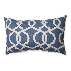 Lattice Damask Blue Rectangular Throw Pillow, Blue