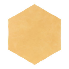 """SomerTile Palm Hex 6"""" x 7"""" Porcelain Floor and Wall Tile, Mustard"""