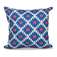 "Jodhpur Kilim 2, Geometric Print Pillow, Blue, 26""x26"""