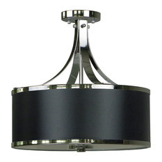 Hugo 3-Light Semi Flush, Ebony/Bronze, Black/Chrome
