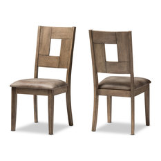 Gillian Weathered Gray Wood and Brown Faux Leather Dining Side Chair, Set of 2