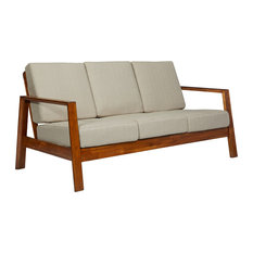 handy living carlyle mid century modern sofa with exposed wood frame barley tan linen - Exposed Wood Frame Sofa
