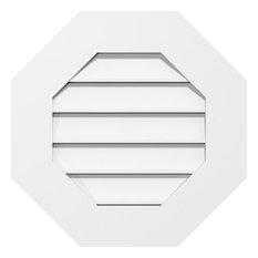 22 x 22 Octagonal Surface Mount PVC Gable Vent, Functional, Standard Frame