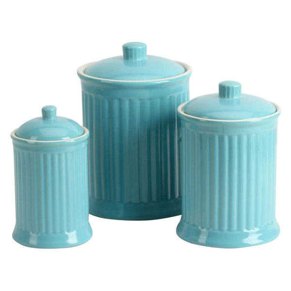 Simsbury 3-Piece Canisters Set, Turquoise