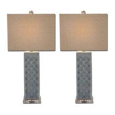 Urban Designs Blue Trellis Ceramic Table Lamps, Set of 2