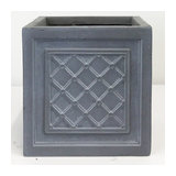 Faux Lead Lattice Box Square Grey Light Stone Planter, Extra Large