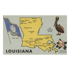 """""""Louisiana, Detailed Map of State"""" Print, 24""""x36"""""""