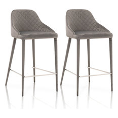 Marquee Counter Stool Set Of 2 Gavel Gray Velvet