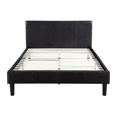 divano roma furniture deluxe espresso brown bonded leather platform bed with wooden slats queen