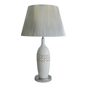 Shine High Table Lamp, White and Silver