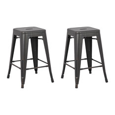 Backless Distressed Metal Barstool Set Of 2 Black 24-inch