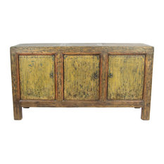Consigned Antique 3-Door Distressed Painted Sideboard