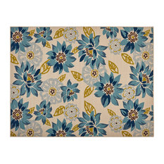 """Lilith Outdoor Floral Area Rug, Ivory and Anemone, 7'10""""x10'"""