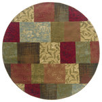 """Newcastle Home - Harrison Geometric Green and Red Rug, 7'8"""" Round - Affordable elegance at its best, Harrison pairs sophisticated, traditional to casual designs with modern color ways, including true red and pure ivory, as well as organic hues of green, blue, and terra cotta.  Machine woven of heat-set polypropylene, Harrison is rich in style and value."""