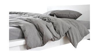 Gray Linen Duvet Cover, Dark Grey Linen, Full/Queen, 3-Piece Set