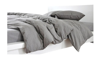 Gray Linen Duvet Cover, Dark Grey Linen, Full/Queen, 3-Piece Set
