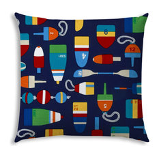Buoy Navy Indoor/Outdoor Pillow, Sewn Closure
