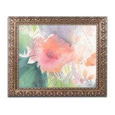 "Sheila Golden 'Coral Blossom' Ornate Framed Art, 11""x14"""
