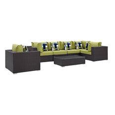 Modern Contemporary Outdoor Patio 7-Piece Sectional Sofa Set, Green, Rattan