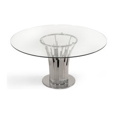 Modrest Paxton Modern Round Glass and Stainless Steel Dining Table
