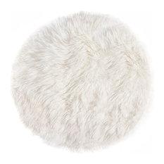 New Zealand Round Sheepskin Rug 5' Diameter, Natural