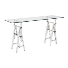 Modern Contemporary Console Table, Chrome, Glass