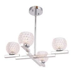 Woodbridge Lighting 18514 Jewel 4-Light Chandelier, Crystal Clear Ball