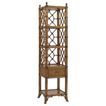 Tommy Bahama Home - Atlantis Etagere - Allowing for display of favorite accesorries this etagere has three stationary shelves as well as storage with its one drawer. Thoughtful details like its leather wrapped rattan base with bent rattan end panels and back, antique brass metal finials and pencil rattan drawer front give the piece a sophisticated island look.