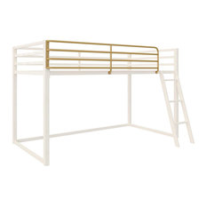 Twin Size Loft Bed, Ladder and Elegant Gold Painted Safety Guardrails, White