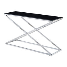 Excel Console Table Black Glass Top