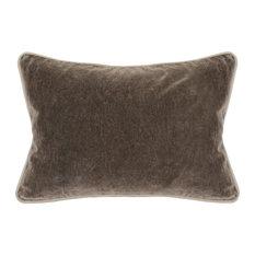 "Harriet Velvet Throw Pillow by Kosas Home, Brown, 14""x20"""