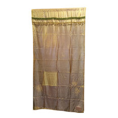 Mogul Interior - Gold Silk Sari Curtain, Yellow - Curtains