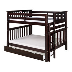 Santa Fe Mission Bunk Bed Full Over Full, End Ladder, Twin Trundle, Cappuccino