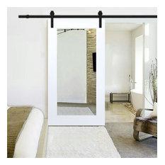 White Primed Mirror Sliding Barn Door with Hardware Kit., Carbon Steel Hardware,