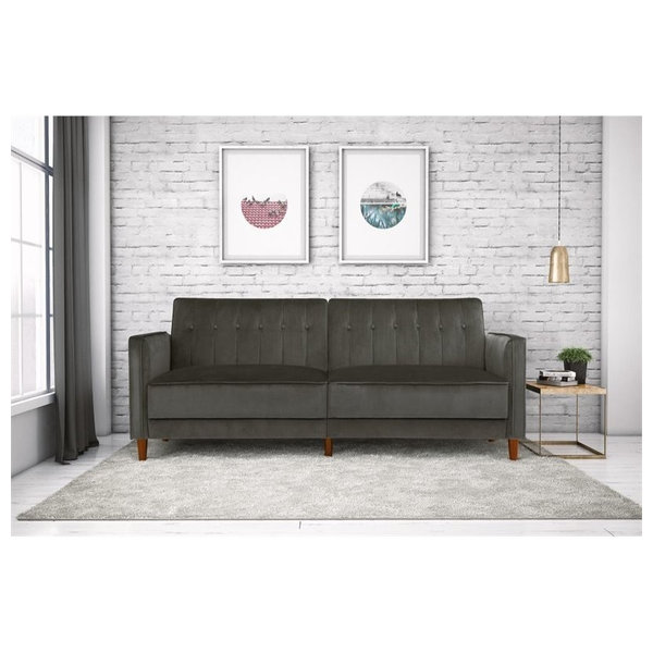 This Couch Is Covered In Velvet And Features Thick Cushions And Armrests For  The Ultimate In Simple Luxury. The Seat Back Has Three Positions For  Sitting Up ...