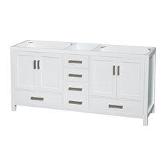 "Sheffield Double Vanity, White, 72"", No Countertop, No Sink"